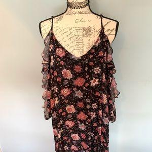 AE Long Sleeve Cold Shoulder Black Floral Dress